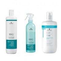Pachet pentru hidratarea parului Schwarzkopf BC MOISTURE KICK - Sampon , Masca si Spray Leave - In